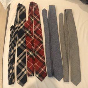 JCrew Slim Ties Set (3 Cotton, 1 Wool)